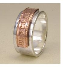 Australia ring in silver and copper
