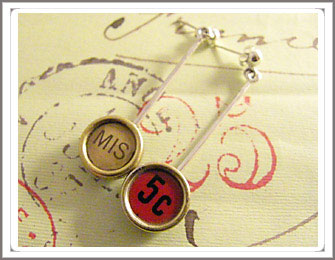Typewriter key earrings
