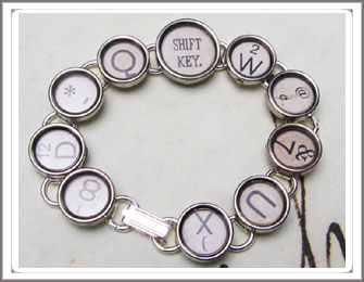 Typewriter key bracelet, 12 keys